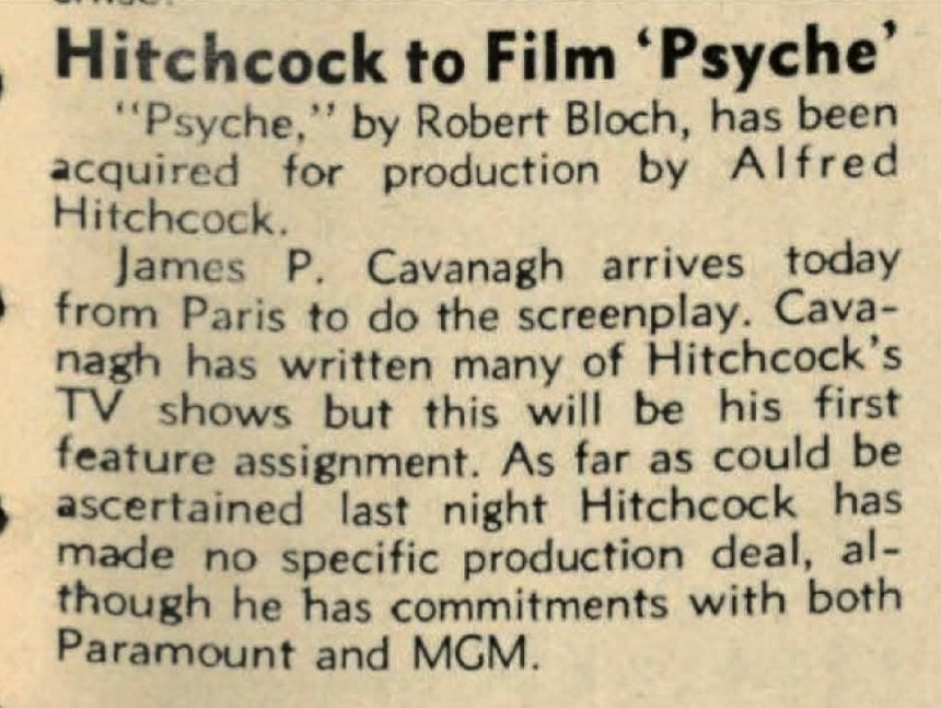 "Hitchcock to film ""Psyche"" - The Hollywood Reporter"